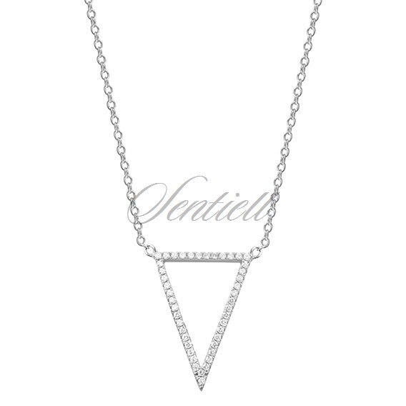 Silver (925) necklace - triangle with zirconia