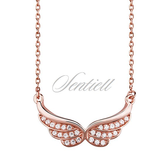 Silver (925) necklace - wings with zirconia, rose gold-plated