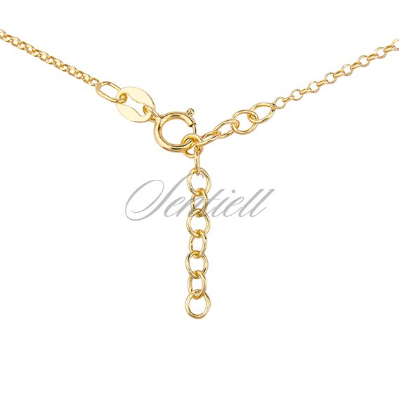 Silver (925) necklace with circle and heart, gold-plated