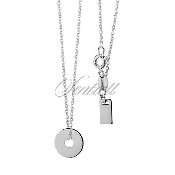 Silver (925) necklace with circle and metal tag