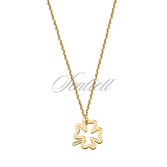 Silver (925) necklace with clover, gold-plated