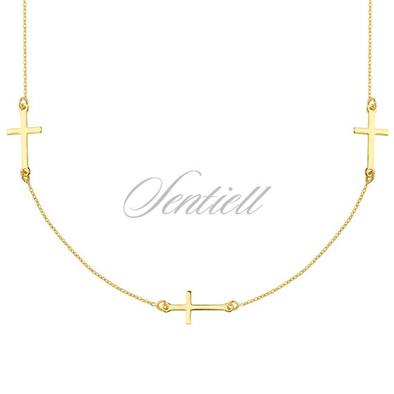 Silver (925) necklace with cross, gold-plated