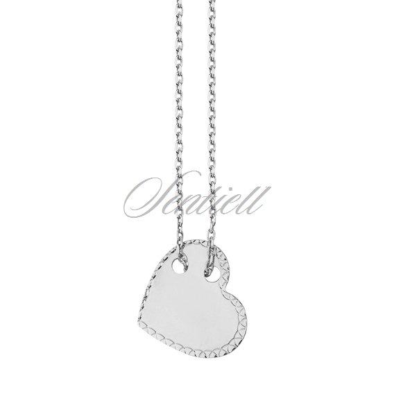 Silver (925) necklace with diamond-cut heart pendant
