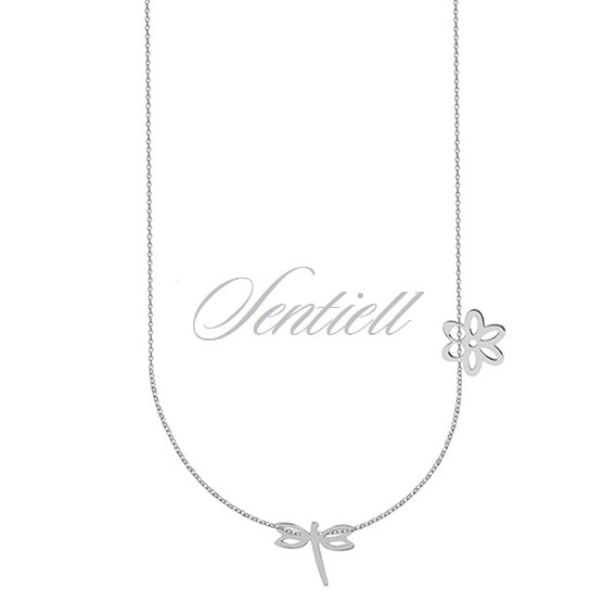 Silver (925) necklace with dragonfly and flower