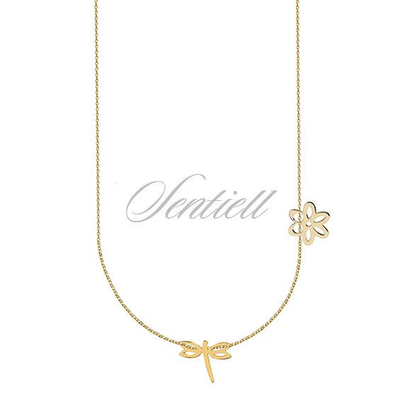Silver (925) necklace with dragonfly and flower, gold-plated