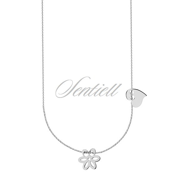 Silver (925) necklace with heart and flower