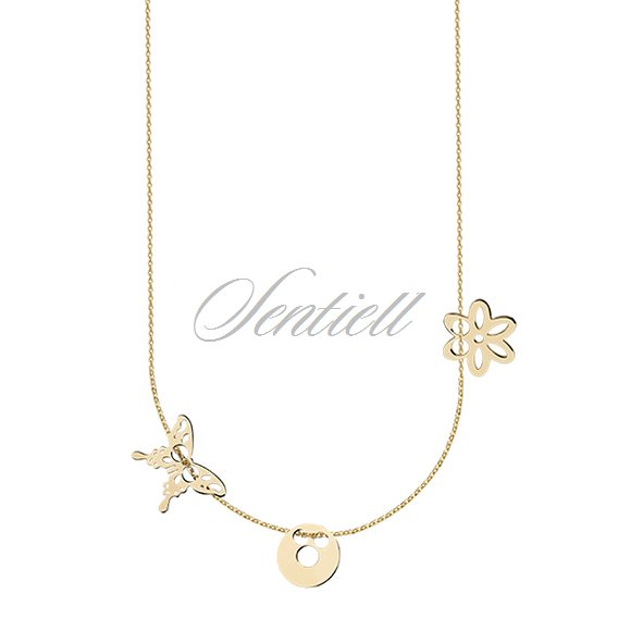Silver (925) necklace with open-work butterfly, circle and flover, gold-plated