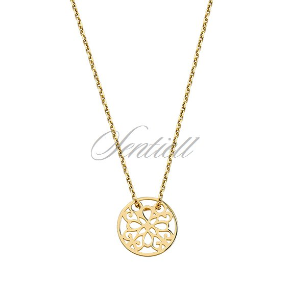 Silver (925) necklace with open-work circle, gold-plated
