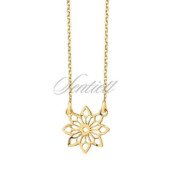 Silver (925) necklace with open-work flower pendant - gold-plated
