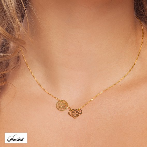 Silver (925) necklace with open-work round pendant and heart - gold-plated