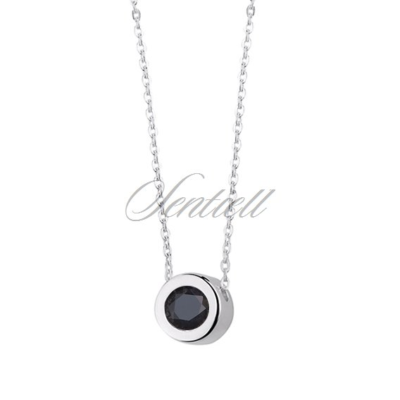 Silver (925) necklace with round pendant and black zirconia
