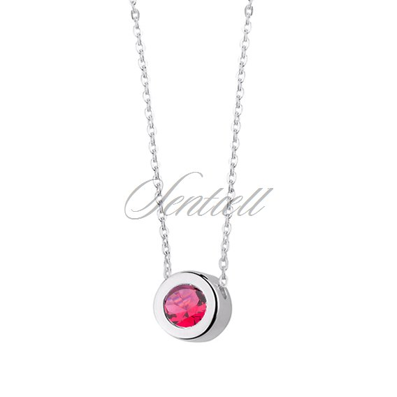 Silver (925) necklace with round pendant and ruby zirconia