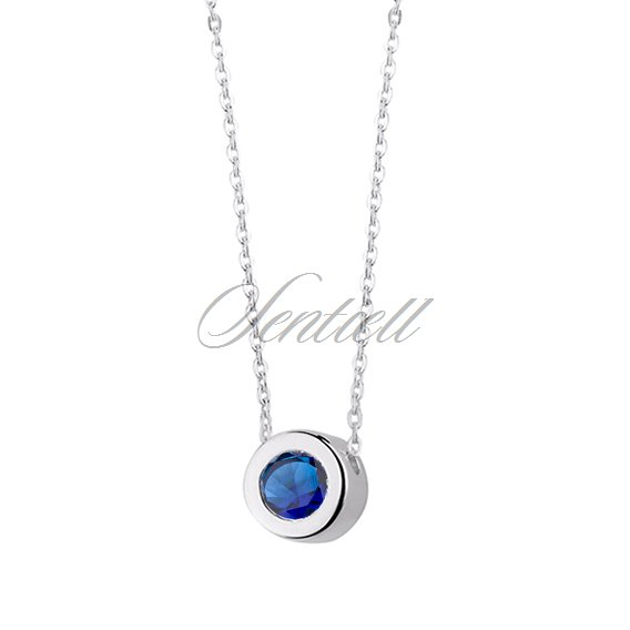 Silver (925) necklace with round pendant and sapphire zirconia