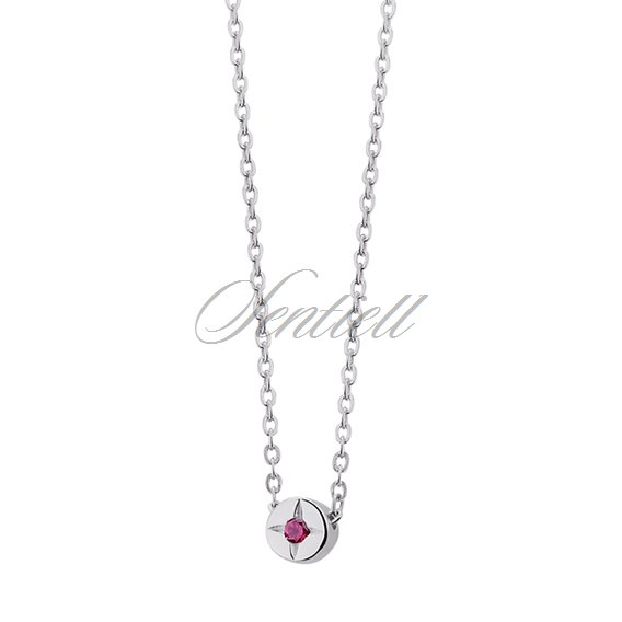 Silver (925) necklace with round ruby colored zirconia pendant