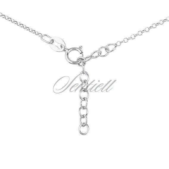Silver (925) necklace with round shape pendant and rose