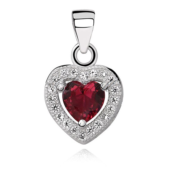 Silver (925) pendant red colored zirconia - heart