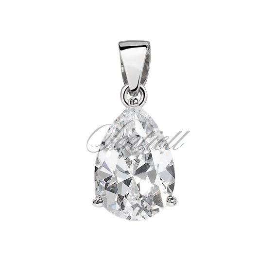 Silver (925) pendant tear-shaped white zirconia - 8 x 10mm