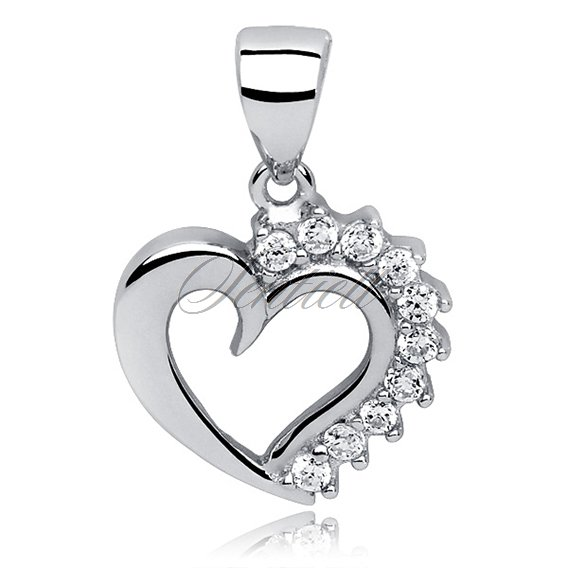 Silver (925) pendant white zirconia - heart with a crown of zircon
