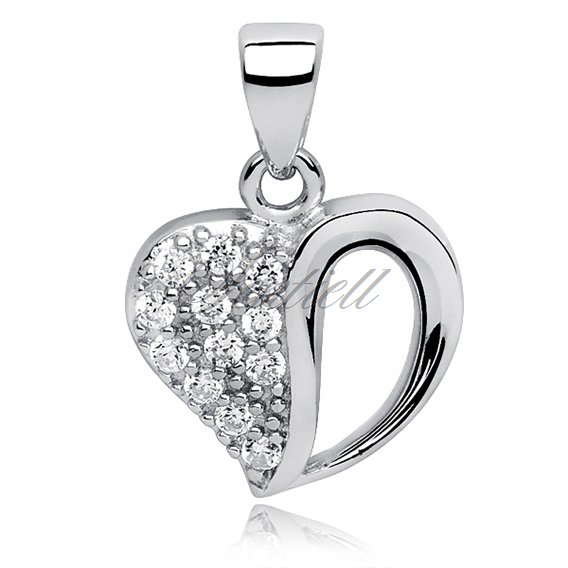 Silver (925) pendant white zirconia - heart with a hole