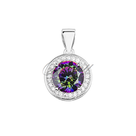 Silver (925) pendant with round multicolor zirconia