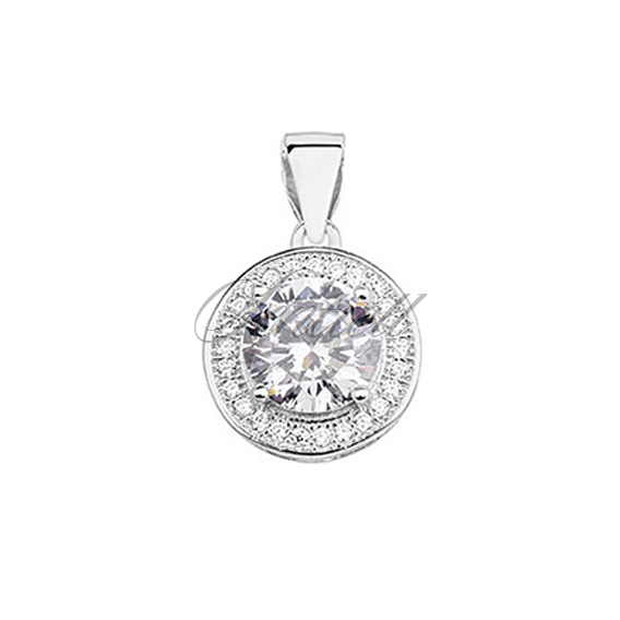 Silver (925) pendant with round white zirconia
