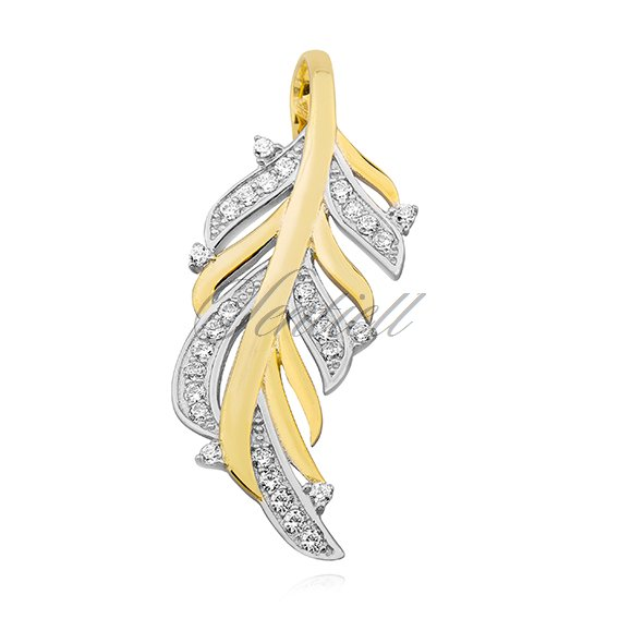 Silver (925) pendant with zirconia, gold-plated feather