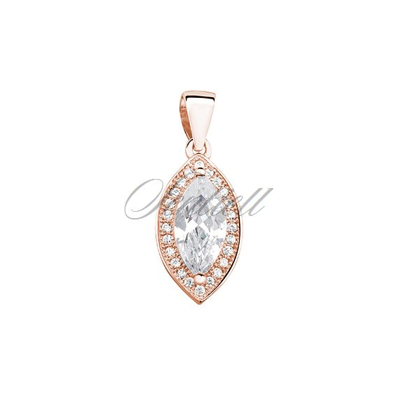 Silver (925) pendant with zirconia, rose gold-plated