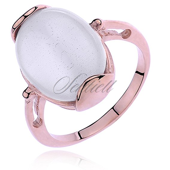 Silver (925) ring Cat's eye- rose gold plated