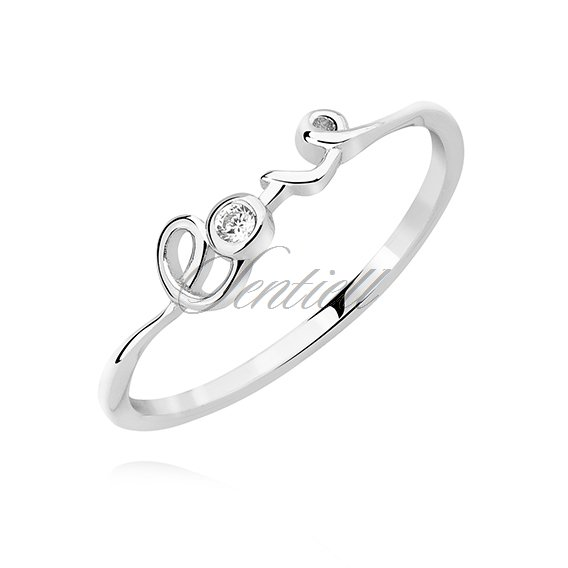 "Silver (925) ring ""LOVE"" with white zirconia"