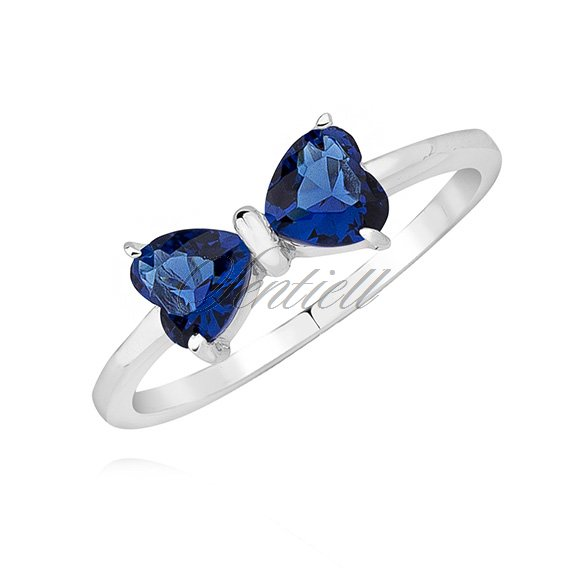 Silver (925) ring - bow with sapphire zirconia