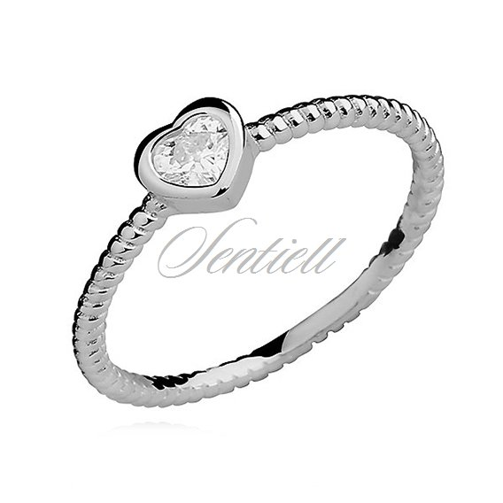 Silver (925) ring heart with white zirconia