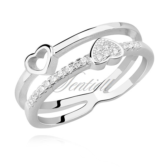 Silver (925) ring - hearts with white zirconia