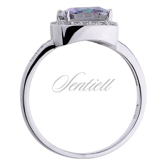 Silver (925) ring square multicolored zirconia