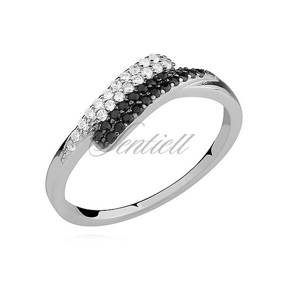 Silver (925) ring with black and white zirconia