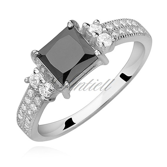 Silver (925) ring with black zirconia