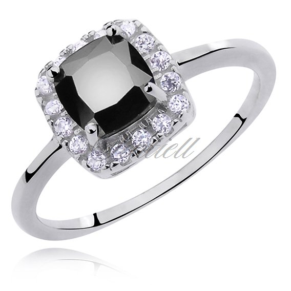 Silver (925) ring with black zirconia - rounded square