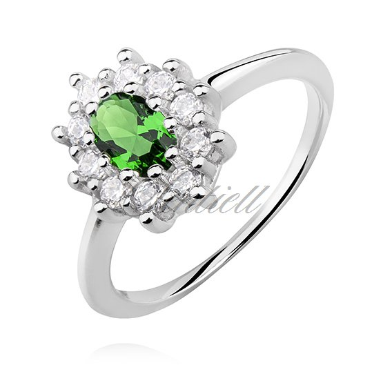 Silver (925) ring with emerald zirconia
