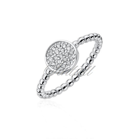 Silver (925) ring with round element and zirconia