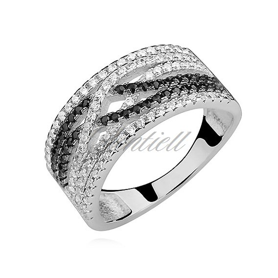 Silver (925) ring with white and black zirconia