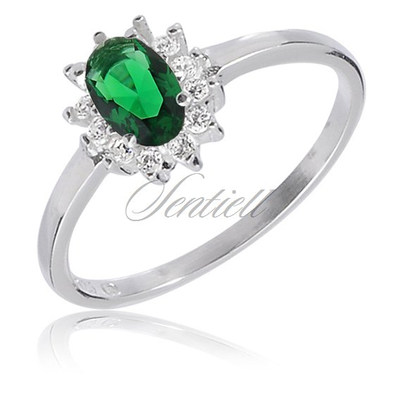 Silver (925) ring with white and green zirconia