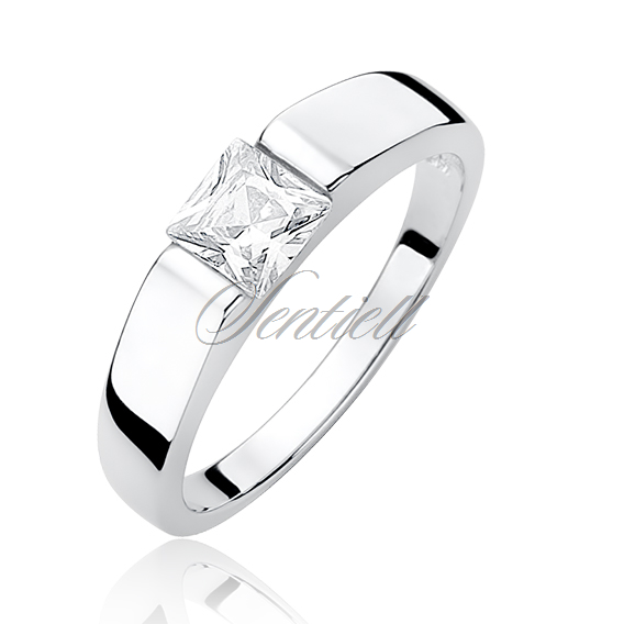 Silver (925) ring with white square zirconia