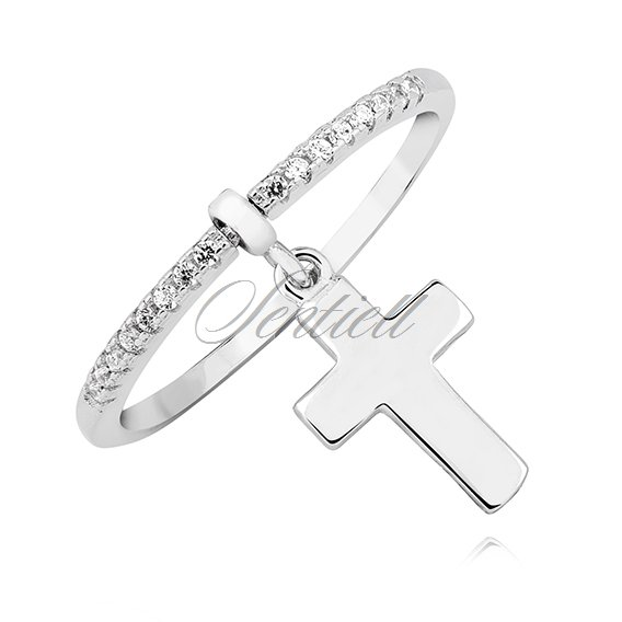 Silver (925) ring with white zirconia - cross