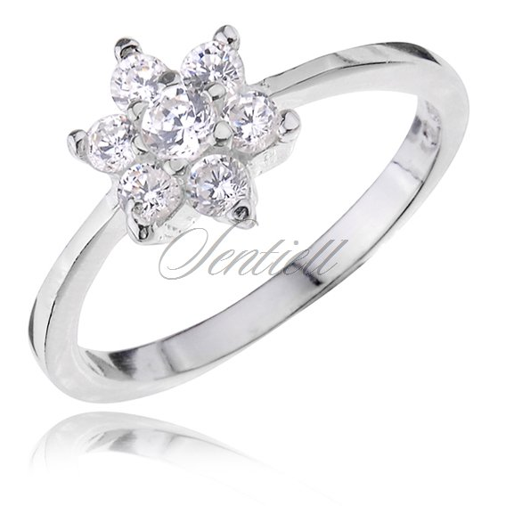 Silver (925) ring with white zirconia - flower