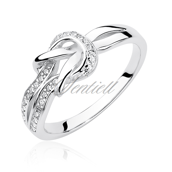 Silver (925) ring with zirconia - knot