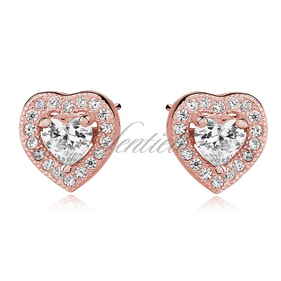 Silver (925) rose gold-plated Earrings white zirconia - hearts