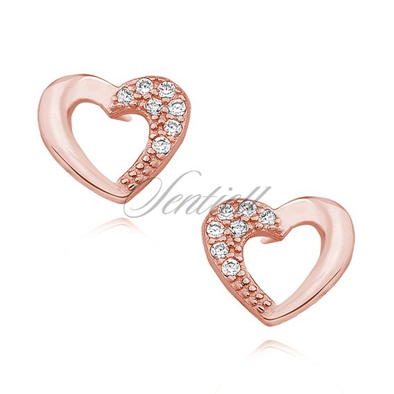 Silver (925) rose gold-plated heart earrings with zirconia