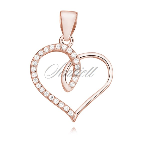 Silver (925) rose gold-plated heart pendant with zirconia