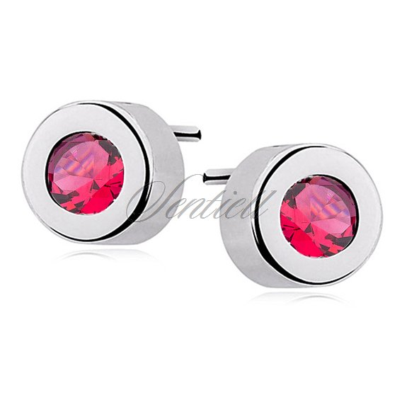 Silver (925) round earrings ruby zirconia
