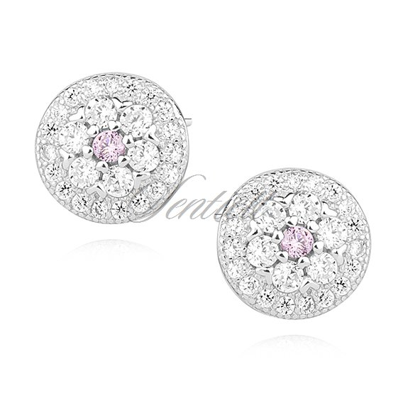 Silver (925) round earrings with light pink zirconia