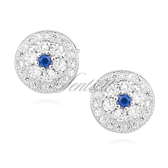 Silver (925) round earrings with sapphire zirconia
